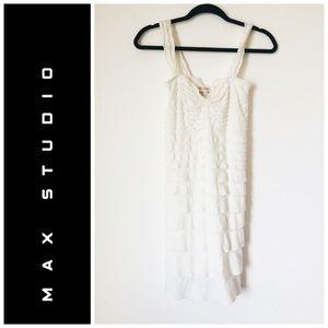 Max Studio Ruffle Layered White Dress XS